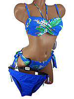 Купальник перекрут push up двое плавок Sisianna 39289 синий  на наши 42 44 48 50 размер