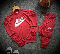 Спортивный молодежный костюм в стиле NIKE на весну красный свитшот + штаны на манжете