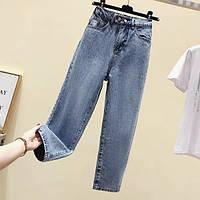 Стильные ровные джинсы на резинке, фото 1