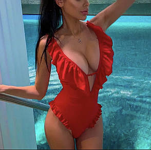 Купальник красный совместный с рюшами, фото 2