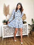 Женское голубое платье с юбкой-солнце и цветами, фото 2