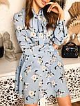 Женское голубое платье с юбкой-солнце и цветами, фото 6