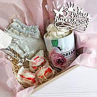 Подарок на день рождение для девушки, подруги с чашкой и браслетом