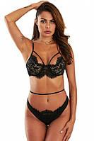 Эротическое женственное кружевное белье с элементами портупеи черного цвета