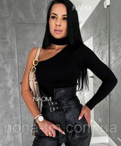 Стильна жіноча кофта трикотажна під горло на одне плече (Норма)