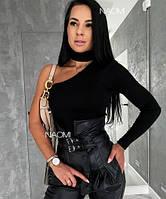 Женская кофта стильная трикотажная под горло на одно плечо (Норма)