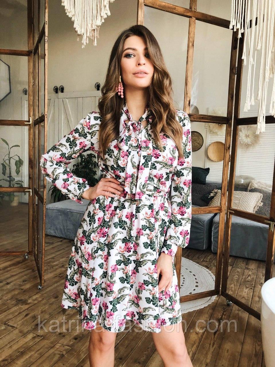 Женское платье с юбкой-солнце и цветочным принтом