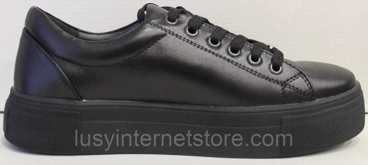 Кроссовки кожаные женские черные от производителя модель ГЖ1012Р
