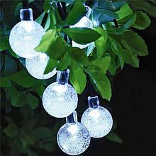 """Светодиодная гирлянда на солнечной энергии """"Хрустальные шарики"""" белые 50 LED"""