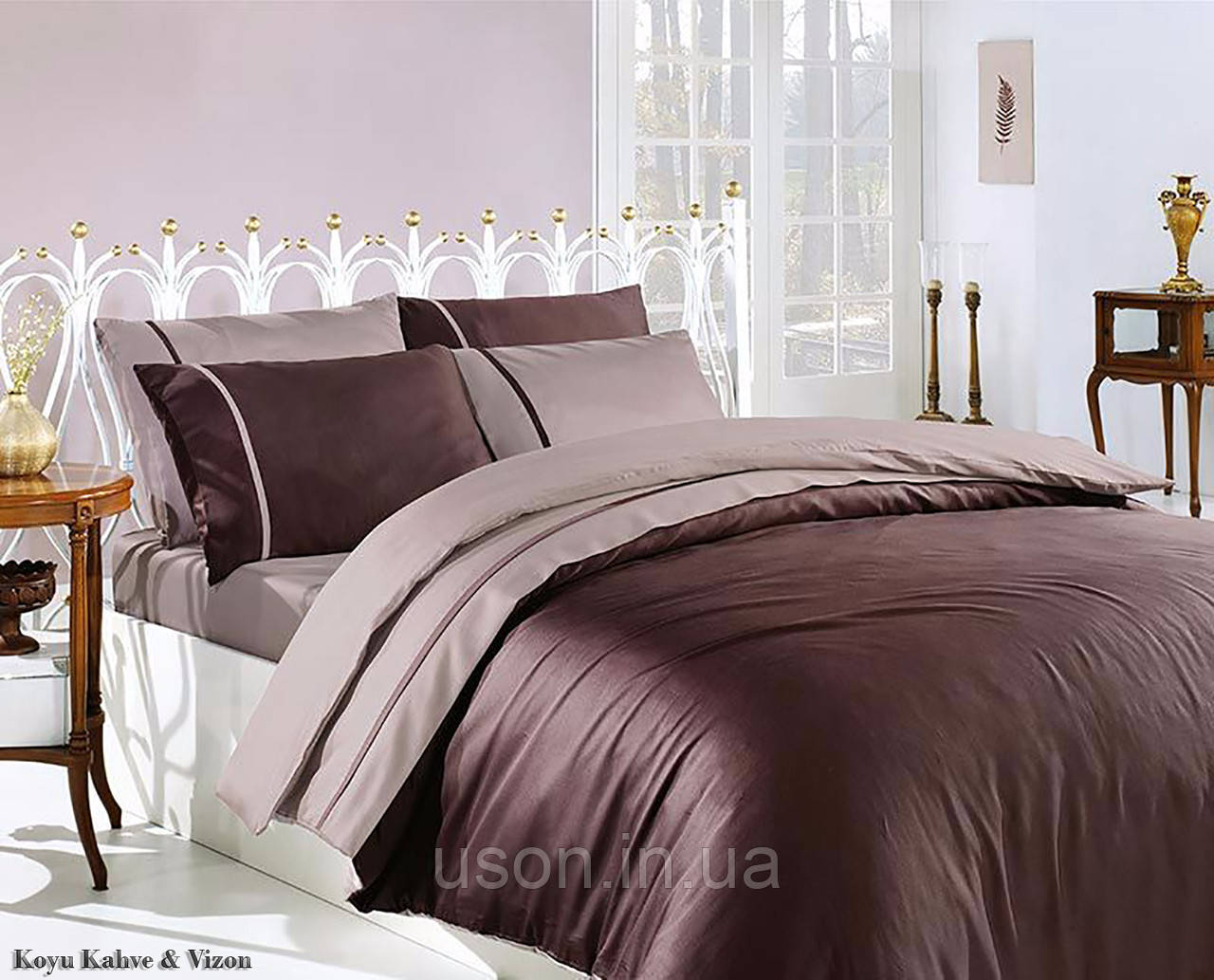 Комплект постельного белья сатин First Choice евро размер Koyukahve & Vizon
