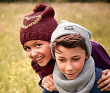 Яскравий в'язаний комплект для дівчинки шапка+снуд від тсм tchibo (чібо), німеччина, розмір універсальний