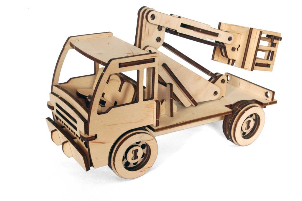 Механический деревянный 3D пазл РЕЗАНОК Автовышка 86 элементов (0006)