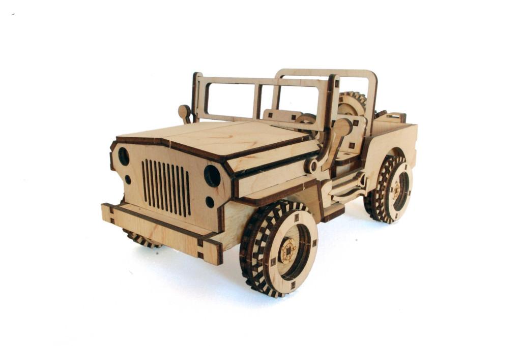Механический деревянный 3D пазл РЕЗАНОК Джип 113 элементов (0007)