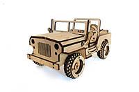 Механический деревянный 3D пазл РЕЗАНОК Джип 113 элементов (0007), фото 1