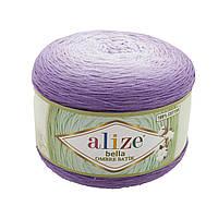 Хлопковая пряжа Ализе Белла омбре BELLA OMBRE BATİK фиолетового цвета 7496