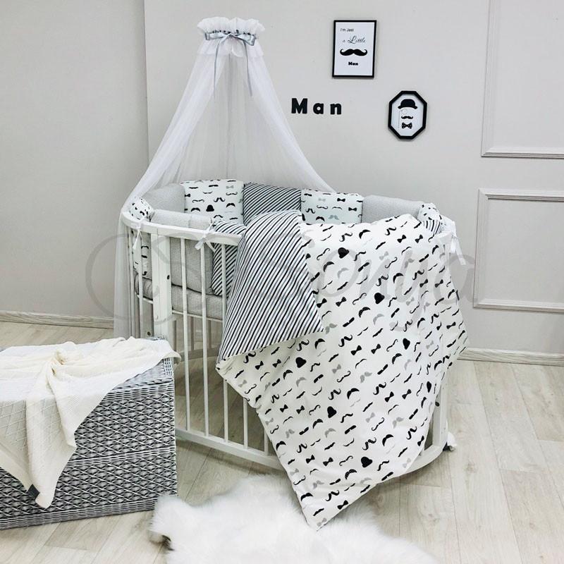 Комплект в овальную детскую кроватку Baby Design Усы (7 предметов)