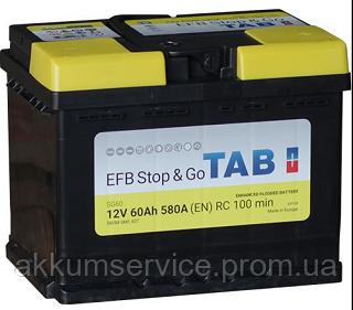 Аккумулятор автомобильный TAB EFB 60AH R+ 580A (212060)
