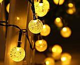 """Светодиодная гирлянда на солнечной энергии """"Хрустальные шарики"""" желтые 50 LED, фото 5"""