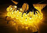 """Светодиодная гирлянда на солнечной энергии """"Хрустальные шарики"""" желтые 50 LED, фото 6"""