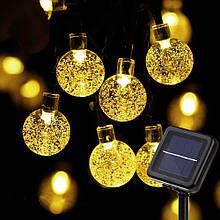 """Світлодіодна гірлянда на сонячній енергії """"Кришталеві кульки"""" жовті 50 LED"""