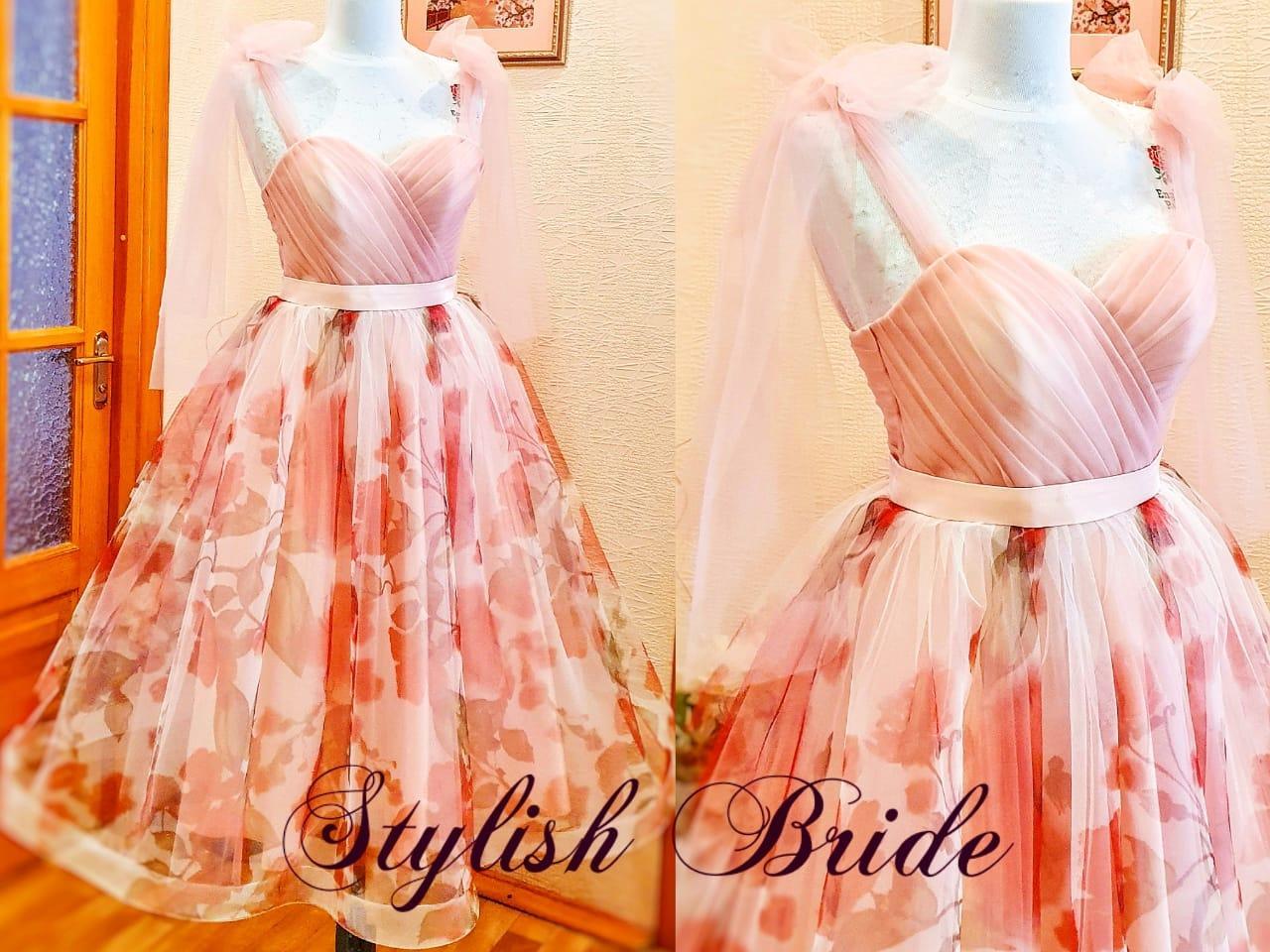 Вечернее платье миди с цветочным принтом