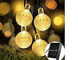 """Светодиодная гирлянда на солнечной энергии """"Хрустальные шарики"""" желтые 50 LED, фото 7"""