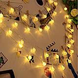"""Светодиодная гирлянда на солнечной энергии """"Хрустальные шарики"""" желтые 50 LED, фото 4"""
