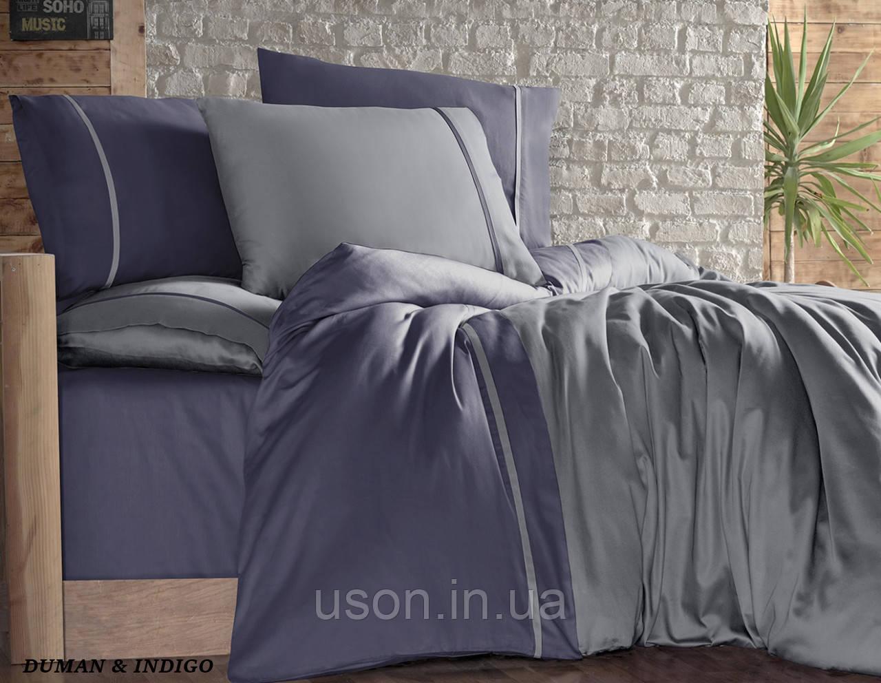 Комплект постельного белья сатин First Choice евро размер  Duman & Indigo