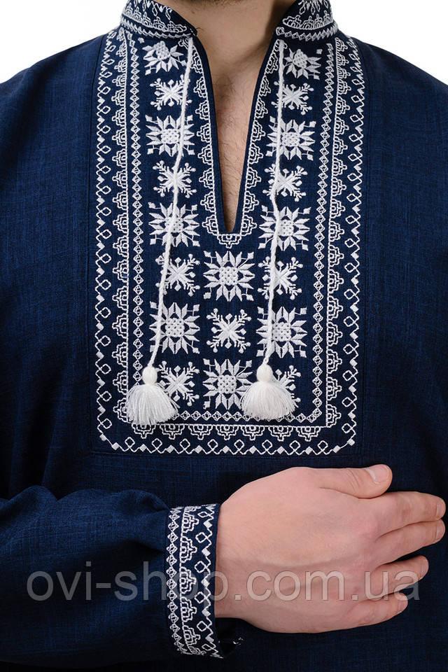 Мужская вышиванка темно-синяя