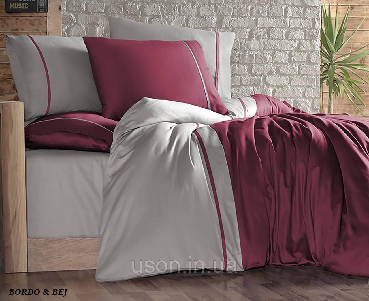 Комплект постельного белья сатин First Choice евро размер Bordo & Bej