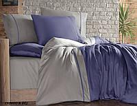 Комплект постельного белья сатин First Choice евро размер Indigo & Bej