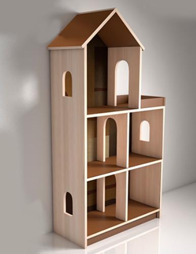 Кукольный дом серия «Мечта мини» Design Service Однотон (В*Ш*Г) 1250*635*255мм