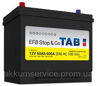Аккумулятор автомобильный TAB EFB Asia 60AH R+ 600A (212860)