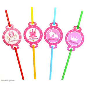 """Трубочки коктейльні з декором """"Принцеса"""", 8 шт, Набор трубочек для коктейля """"Принцесса"""""""