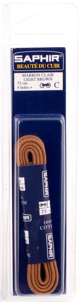 Saphir шнурки тонкие / вощенные / светло-коричневые 75 см