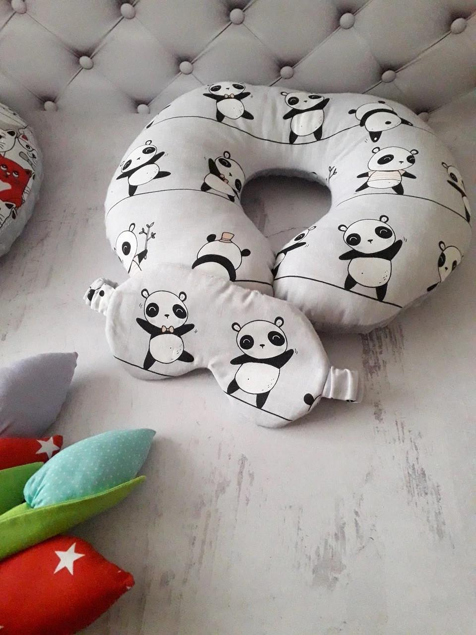 Подушка дорожная для путешествий Панда 2 + ПОДАРОК маска для сна