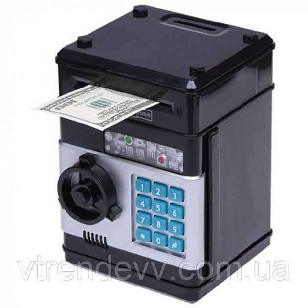 Копилка детский сейф с кодовым замком и купюроприемником для бумажных денег и монет UKC 510 черный