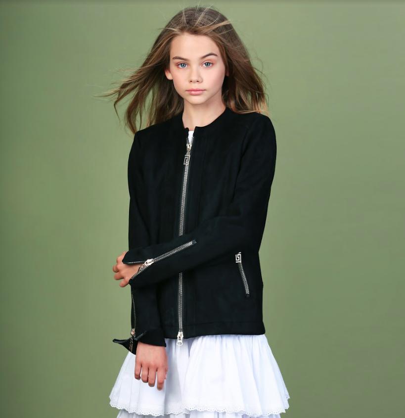 Тонкая замшевая куртка для девочки тм Моне р-ры 146,152,158,164