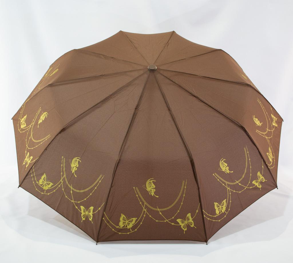 """Женский складной зонтик """"Bellissimo"""" 18309/4 полуавтомат коричневий на 10 спиц"""