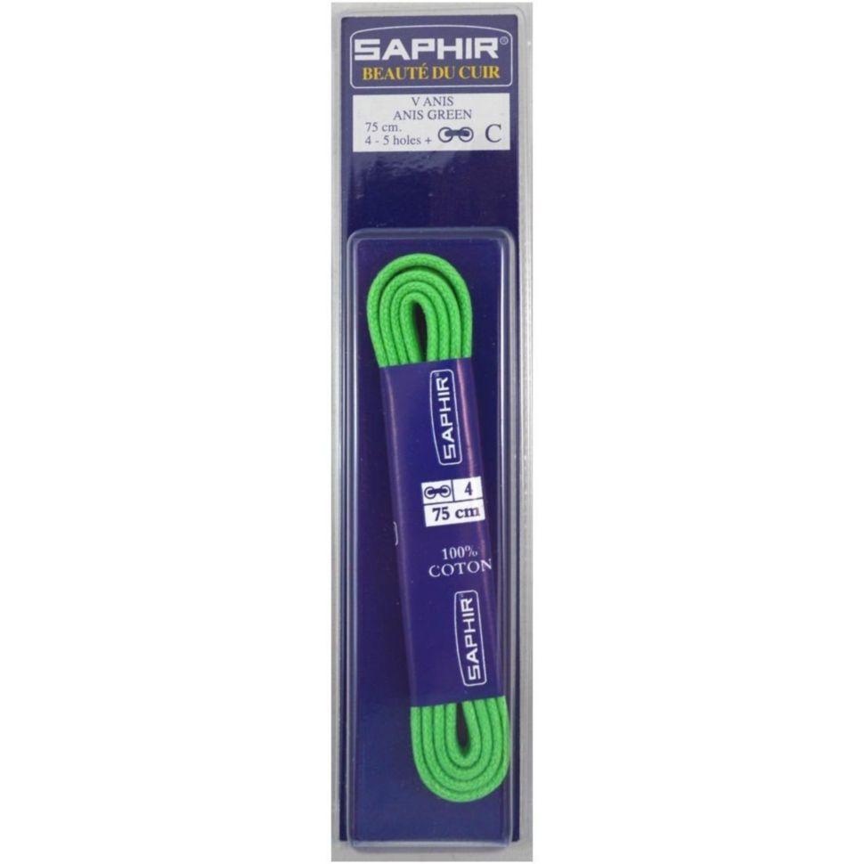 Saphir шнурки тонкие / вощенные / салатовые 75 см