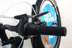 """Велосипед горный подростковый 24"""" Discovery Flint Am Vbr 2019 рама 13"""" с крылом черно-синий с оранжевым, фото 3"""