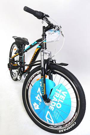 """Велосипед горный подростковый 24"""" Discovery Flint Am Vbr 2019 рама 13"""" с крылом черно-синий с оранжевым, фото 2"""