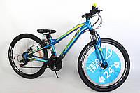 """Велосипед подростковый 24"""" Formula Blackwood 1.0 DD 2020 алюминиевая рама 12.5"""" сине-желто-салатовый"""