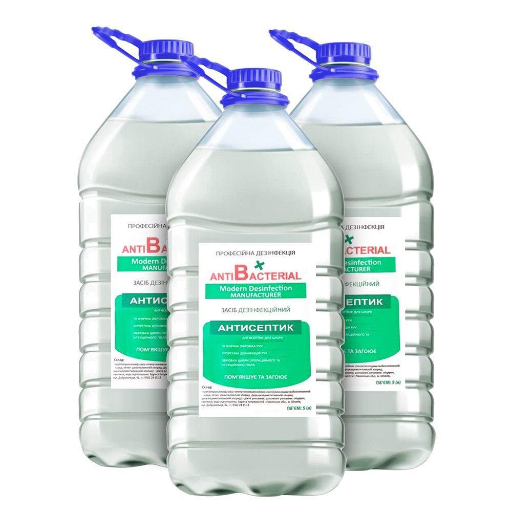 Антисептик Антибактериал(AntiBacterial) 5л в бутылке дезинфицирующе средство для рук и поверхностей замена АХД