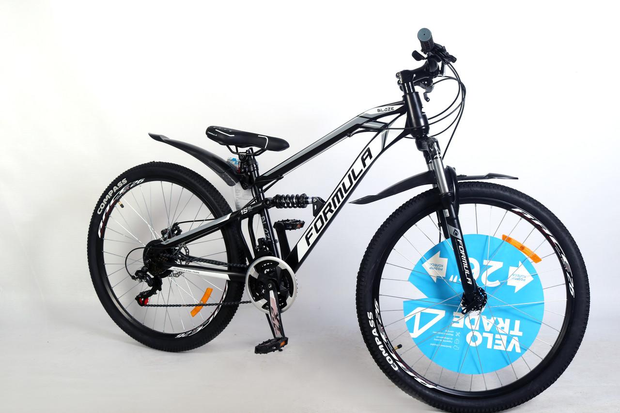 """Велосипед двухподвесный  26"""" Formula Blaze AM DD 2020 стальная рама 15"""" черно-серый с белым"""