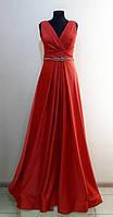 Вечернее длинное нарядное платье на запах, красное, с драппировкой, на свадьбу, на выпускной