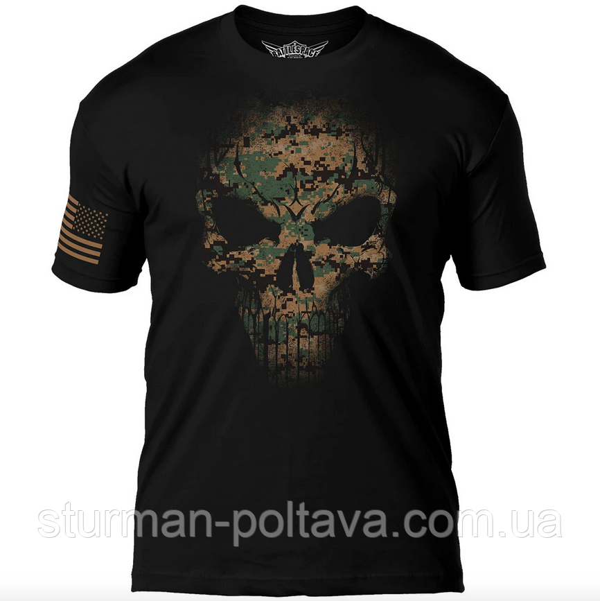 Футболка мужская патриотическая   Дух воина  7.62 Design USMC Woodland MARPAT Skull