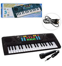 MQ-3768D Игрушка Синтезатор 43см,37клавиш, микрофон,запись, демо, USBзарядное, кор 43-17-6см