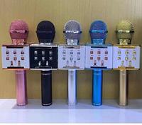 Беспроводной микрофон WS858 светящийся Bluetooth домашний караоке динамик микрофона ручной музыкальный плеер