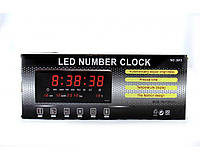 Настольные часы 3615 red, электронные, будильник, встроенный цифровой комнатный термометр, пластик, цвет черный, красная подсветка, часы электронные